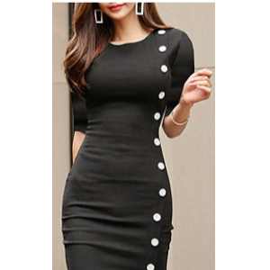 Grab 42% Off On Round Neck Single Breasted Plain Bodycon Dress