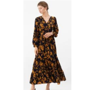 25% Off On Floral Print Wrap Ruffle Maxi Dress in Navy
