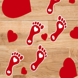 Valentine Special - 10% Off On Heart Footprints Stickers Decoration